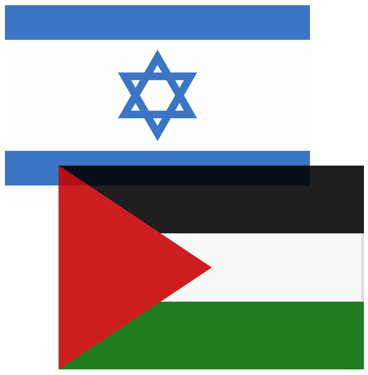 Israeli and Palestinian flags.