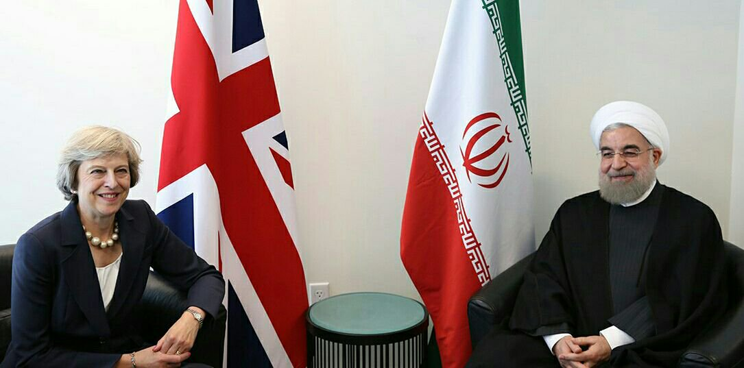 British PM Theresa May meets Iranian President Rouhani.