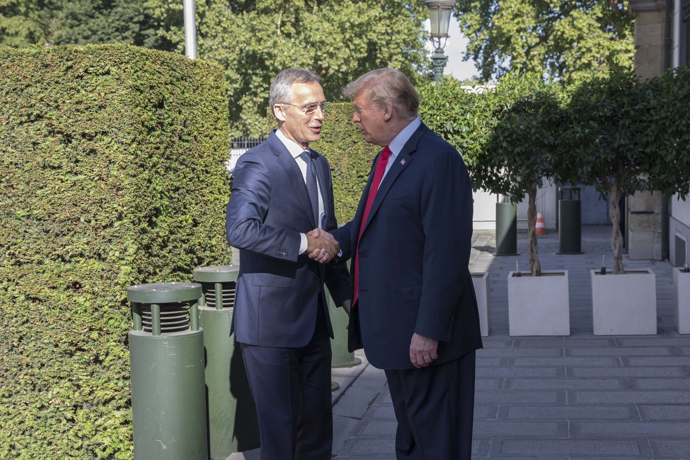 US President Donald Trump with NATO's General Secretary at the NATO Summit in Brussels, 2018.
