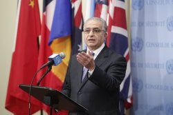 Mohamed Ali Alhakim, Permanent Representative of Iraq to the UN, speaks to journalists, following the Security Council meeting