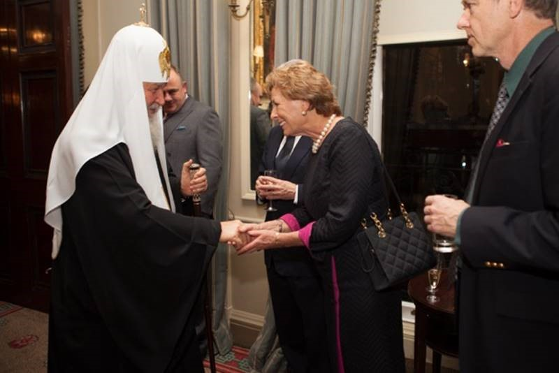 Lady Olga Maitland and HH Patriarch Kirill of Moscow and All Russia (in white hat)  at the Cavalry and Guards Club on Sunday, 16th  October 2016.